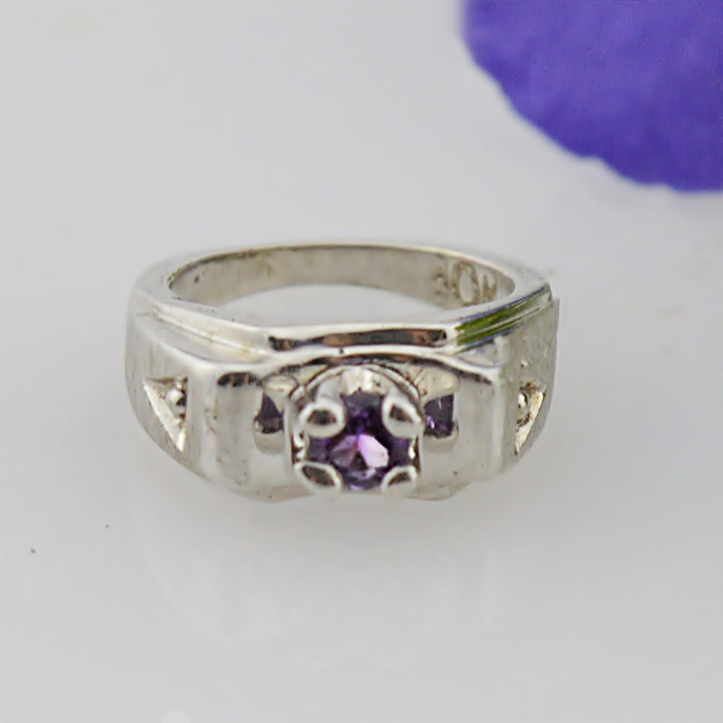 10k White Gold Estate Amethyst Baby Ring Gemstone Charm
