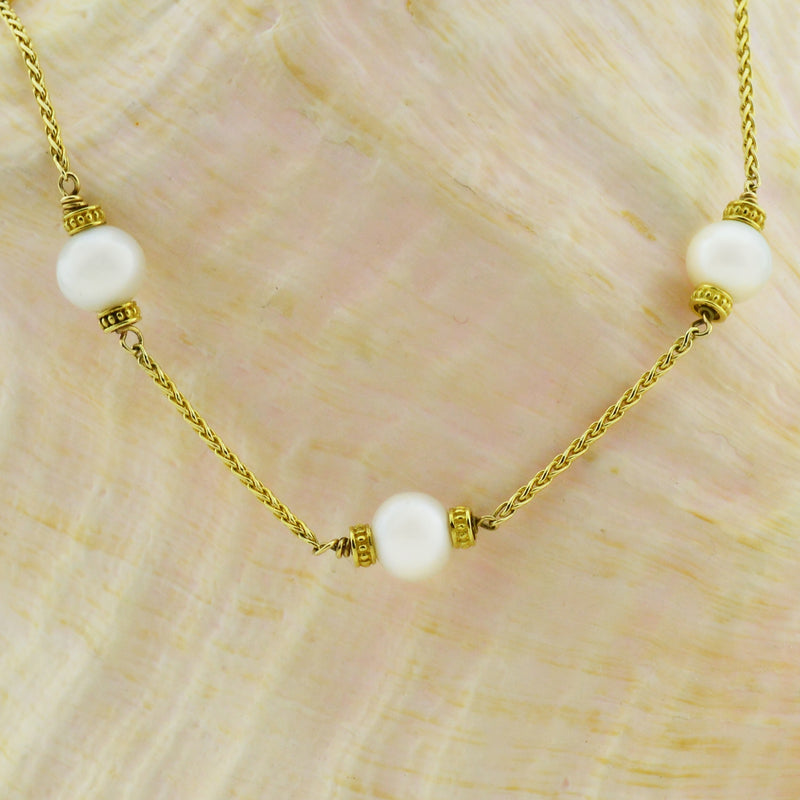 "14k Yellow Gold Estate Wheat Chain Link Pearl Necklace 16"" Long"