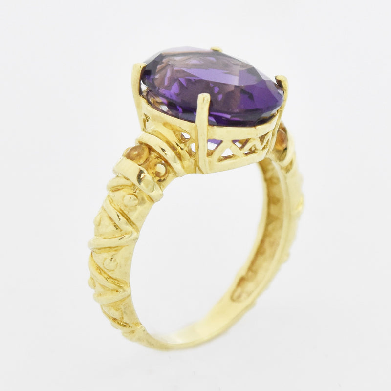 10k Yellow Gold Estate Oval Amethyst & Citrine Ring Size 8