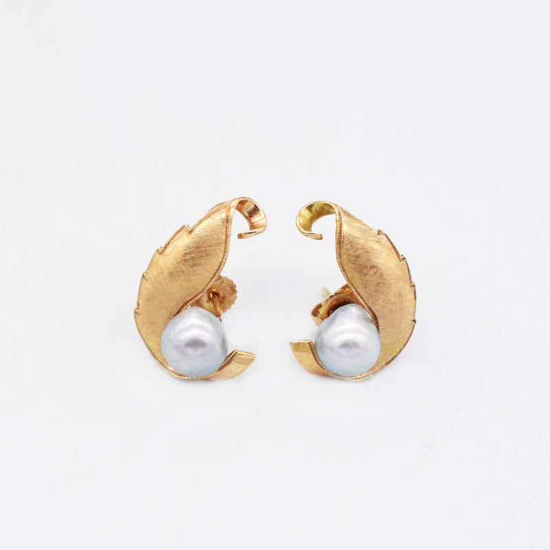 14k Yellow Gold Vintage Textured Leaf Pearl Post Earrings