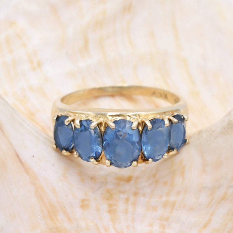 10k Yellow Gold Estate 5 Stone Blue Topaz Gemstone Ring Size 9