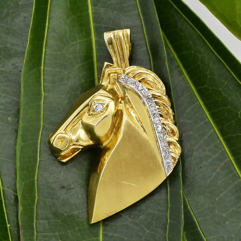 14k Yellow Gold Estate MAURICE KATZ Diamond Horse Head Pendant 12.2g
