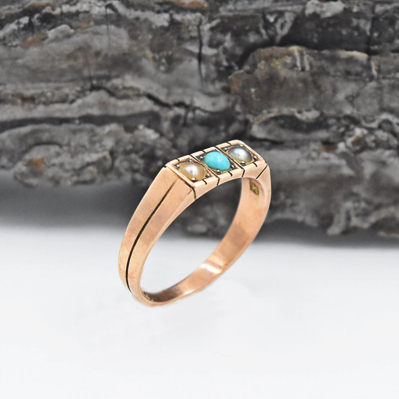 10k Rose Gold Antique Turquoise & Pearl 2.9 mm Ring Size 8