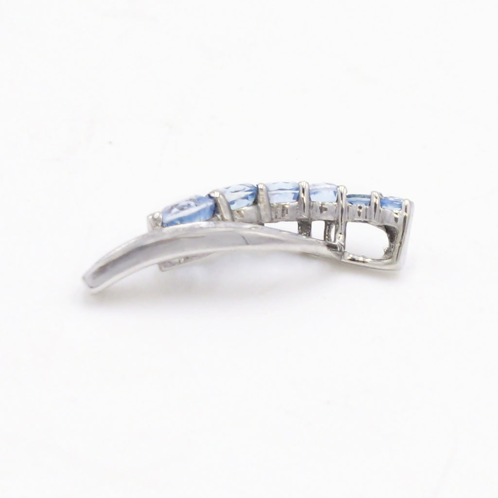 10k White Gold Estate Open Swirl Blue Topaz & CZ Gemstone Pendant