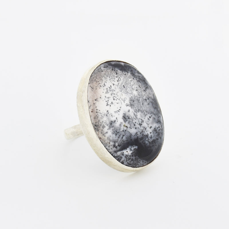 Sterling Silver 925 Black & White Jasper Stone Oval Ring Size 8.5