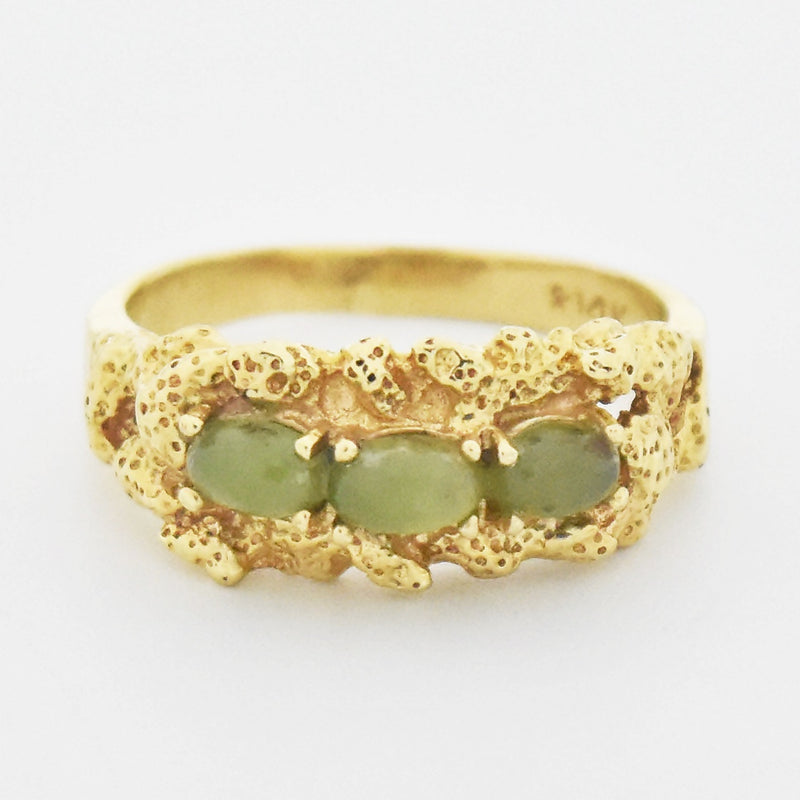 14k Yellow Gold Estate Nugget Style Jade Band/Ring Size 7