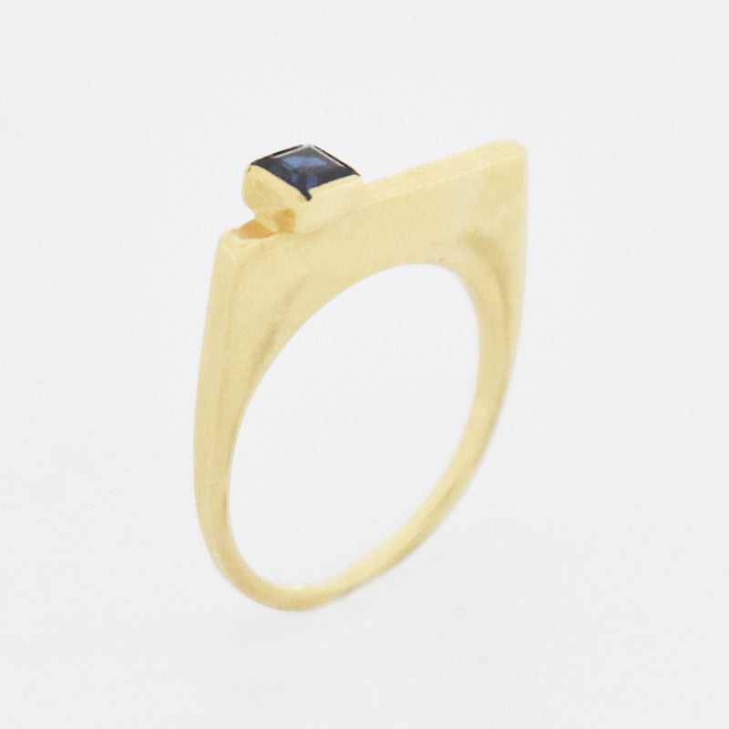 14k Yellow Gold Estate Geometric Sapphire Flat Top Ring Size 6