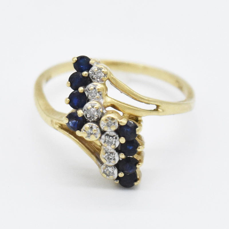 10k Yellow Gold Estate Sapphire & Diamond Swirl Ring Size 6