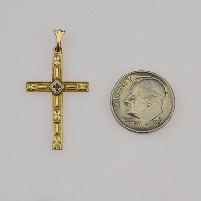 10k Yellow Gold Carved Vintage Religious Cross Pendant