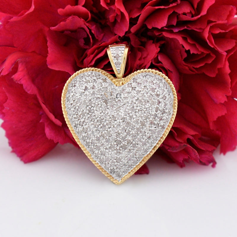 14k Yellow & White Gold Estate Large Diamond Heart Pendant