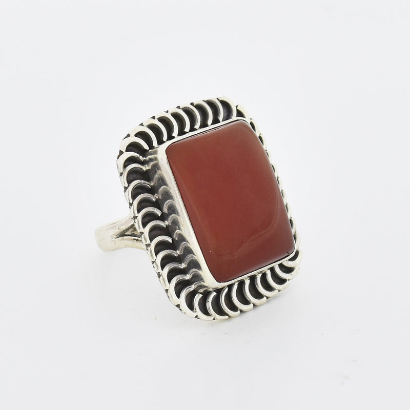 Sterling Silver 925 Estate Ornate Carnelian Rectangle Ring Size 7