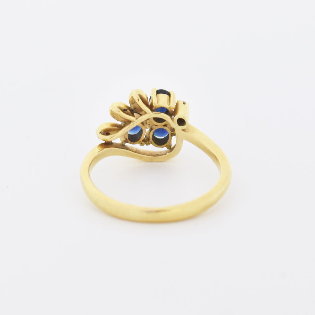 18k Yellow Gold Estate Swirl Sapphire & Diamond Ring Size 6.5