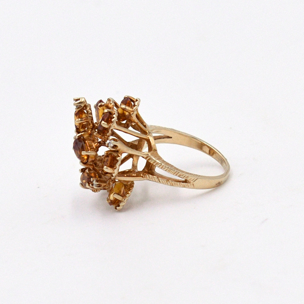 14k Yellow Gold Open Band Citrine & Diamond Cocktail Tier Ring Size 7