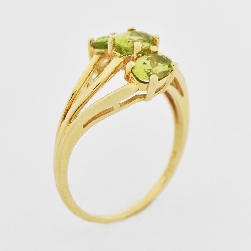 14k Yellow Gold Estate Open Band Peridot Ring Size 8.25
