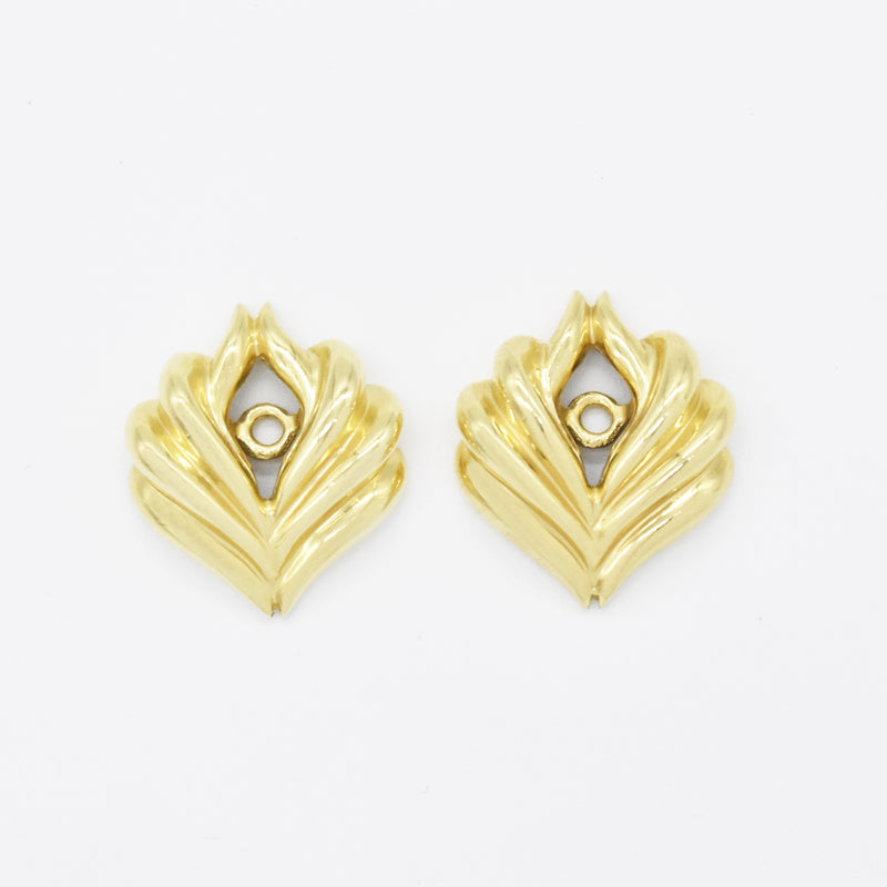 "14k Yellow Gold Estate 3/4"" Swirl Earring Enhancers"