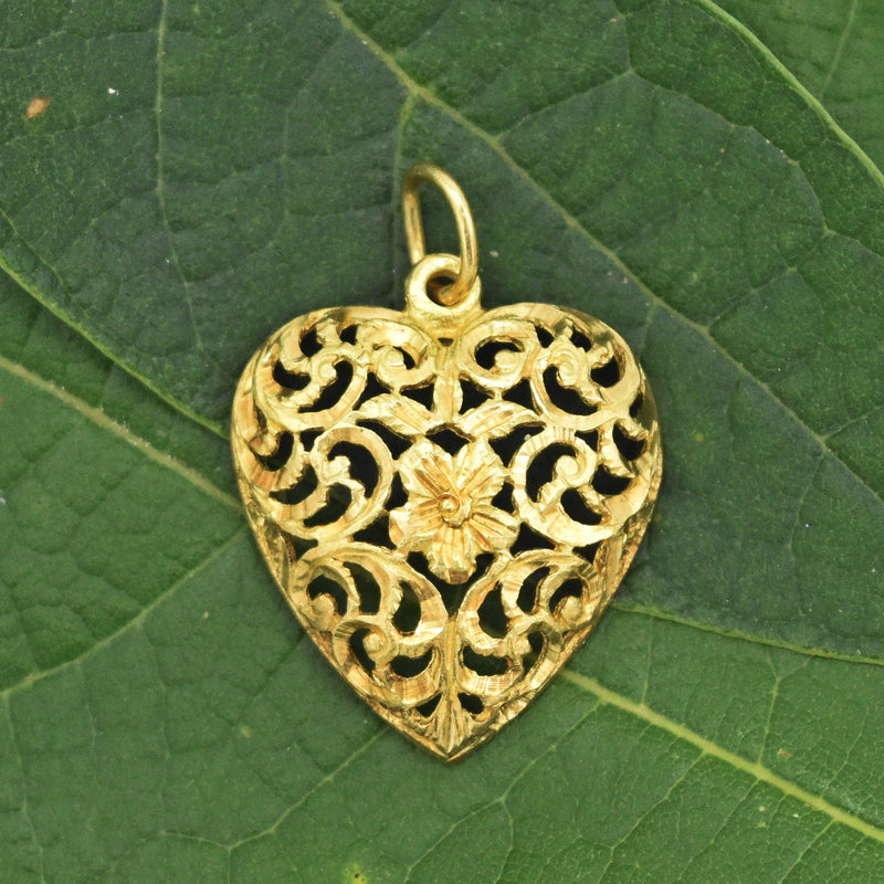 18k Yellow Gold Estate Diamond Cut Filagree Heart Pendant