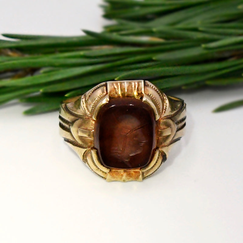 10k Yellow Gold Antique Carnelian Intaglio Ring Size 8.75