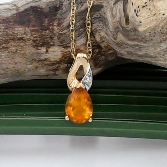 "10k Yellow Gold Estate Citrine & Diamond Necklace 18 1/2"" Long"