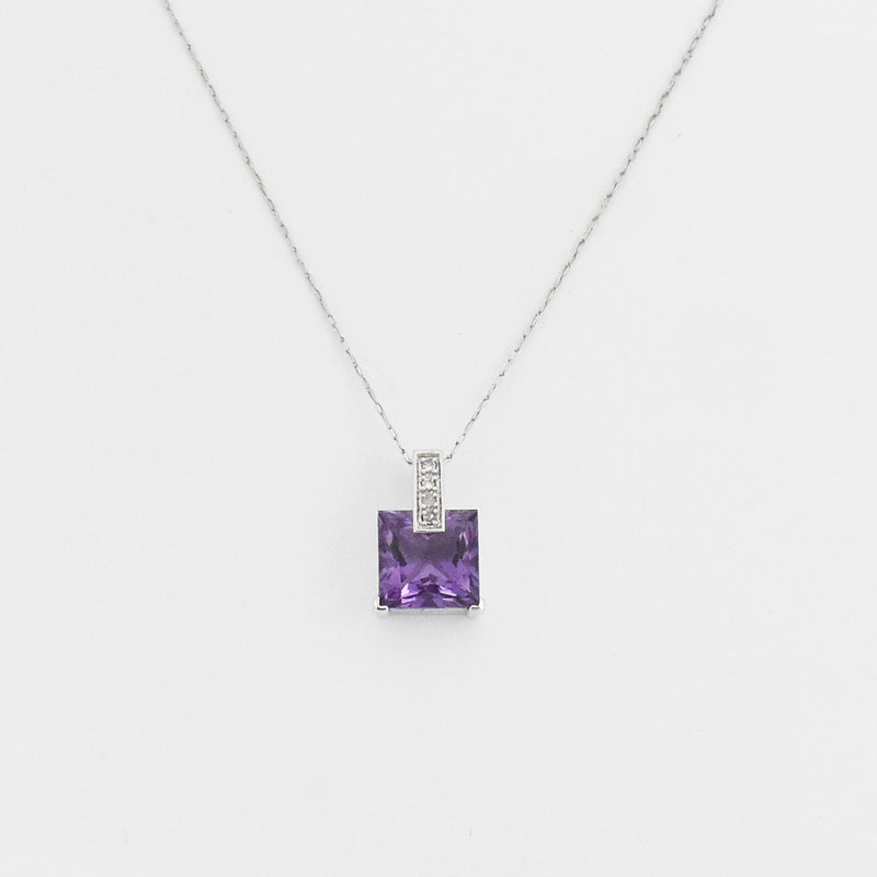 "14k White Gold Estate 18.75"" Amethyst & Diamond Necklace"