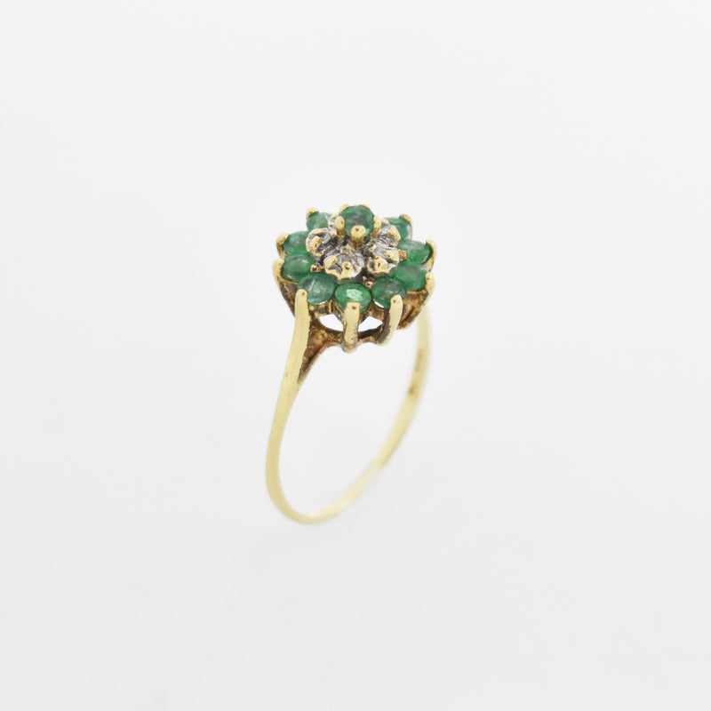 10k Yellow Gold Estate Emerald & Diamond Flower Ring Size 6