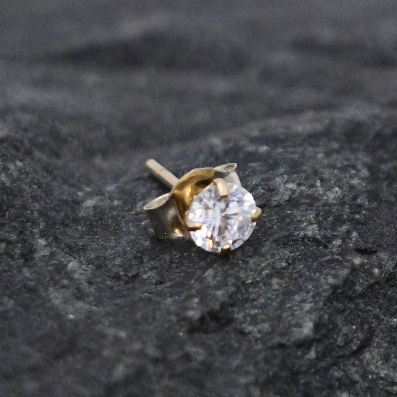 14k Yellow Gold Estate CZ Single Post Earring