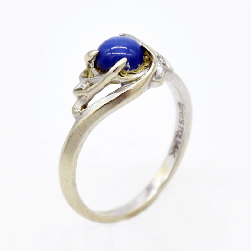 14k White Gold Estate Swirl Star Sapphire & Diamond Ring Size 7