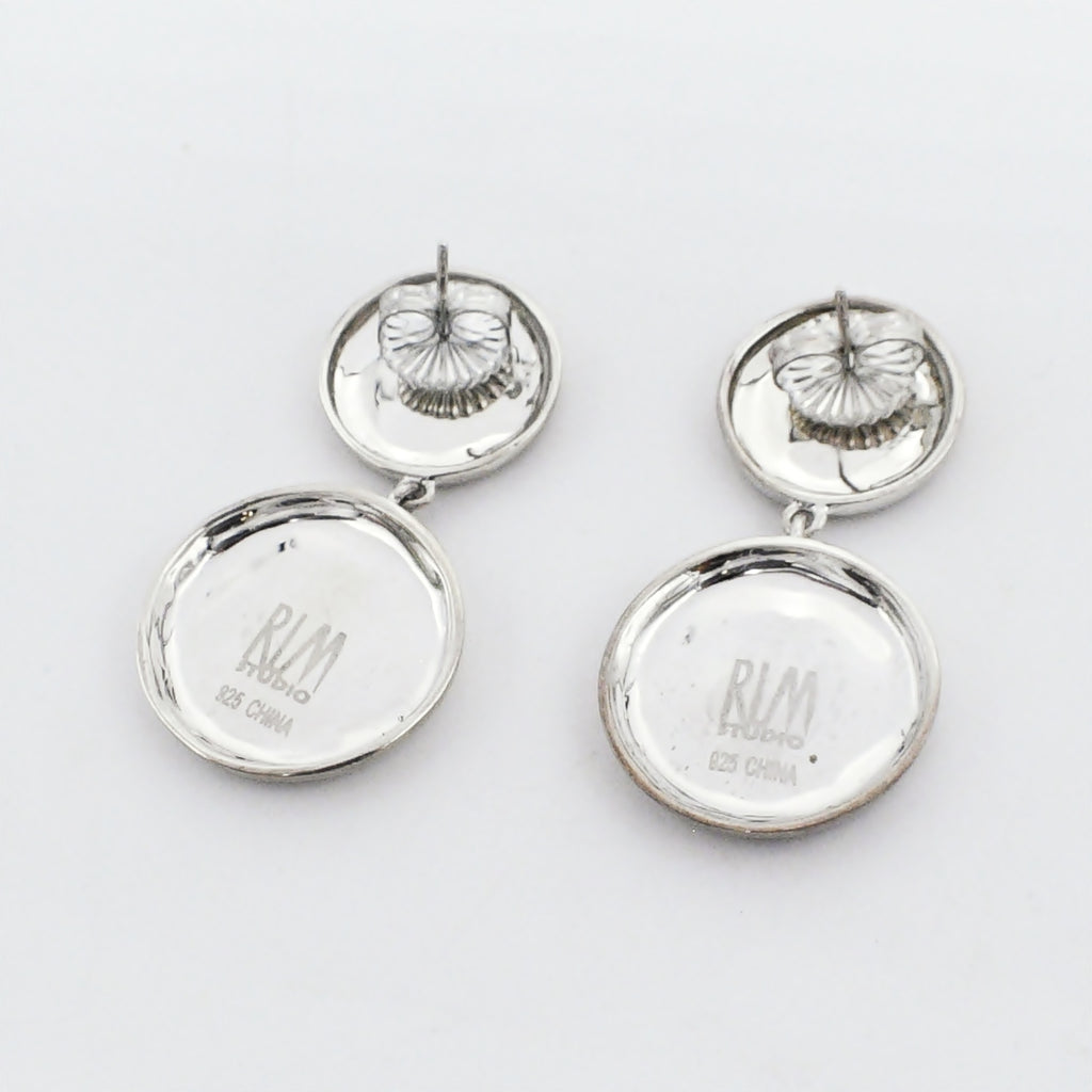 New Sterling Silver 925 RLM Studio Double Drop Circle/Disc Earrings