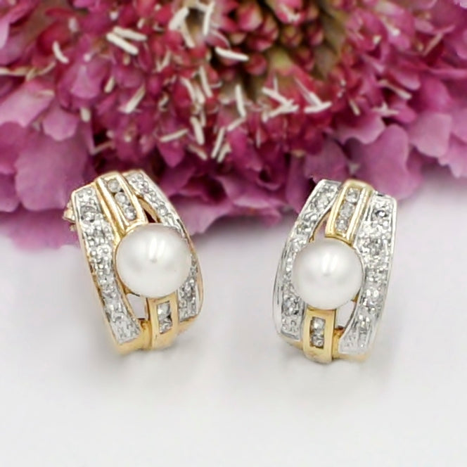 14k Yellow & White Gold Double Row Diamond And Pearl Post Earrings