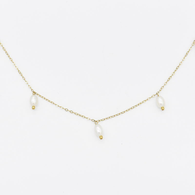 "14k Yellow Gold Estate 16"" Pearl Choker Necklace"