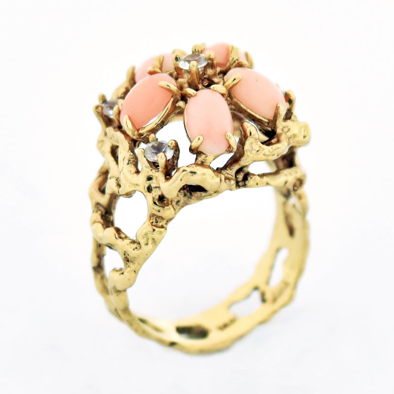 14k Yellow Gold Estate Open Work Coral & White Gemstone Ring Size 7