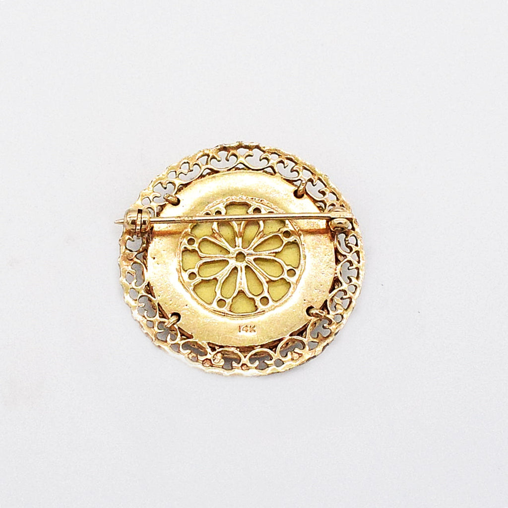 14k Yellow Gold Vintage Circle Filigree Hand Painted Portrait Brooch