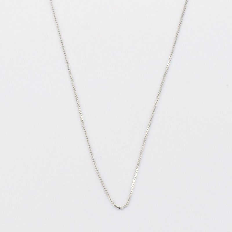 "14k White Gold Estate 18"" Box Link Chain/Necklace"