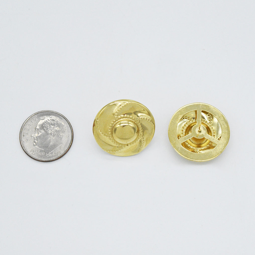14k Yellow Gold Estate Textured Swirl Circle/Disc Post Earrings