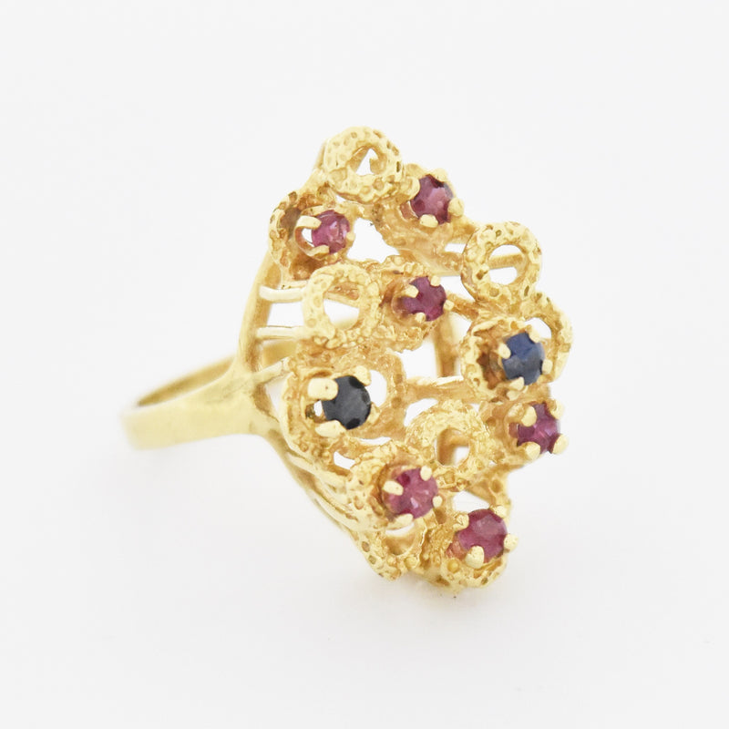 14k Yellow Gold Retro Style Circle Ruby & Sapphire Ring Size 6.75