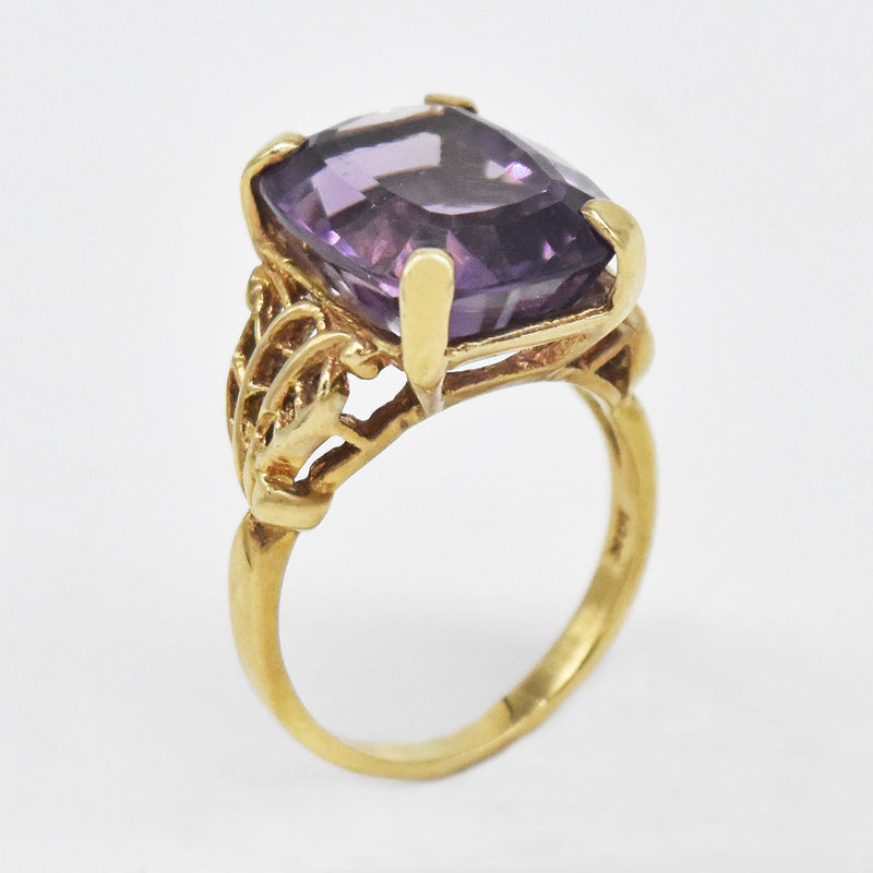 10k Yellow Gold Estate Open Work Amethyst Ring Size 7