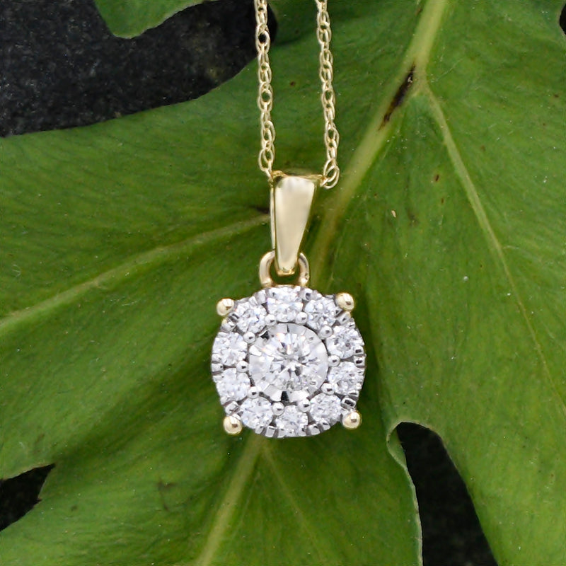 14k Yellow Gold Estate Diamond .36 tcw Pendant Rope Chain/Necklace18""