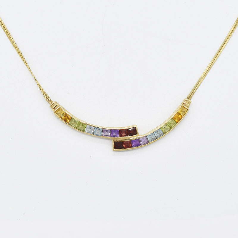 "14k Yellow Gold 17.75"" Multi Colored Gemstone Curved Necklace"