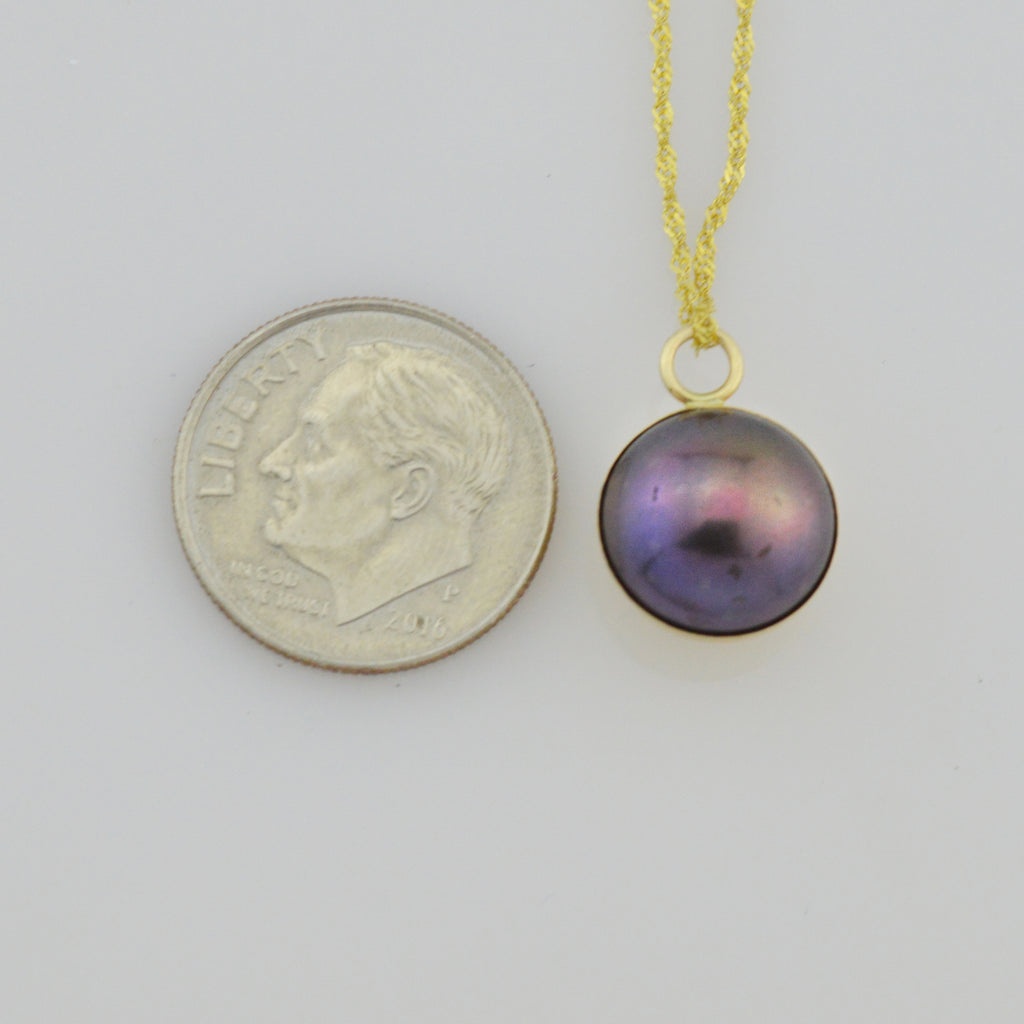 "14k Yellow Gold Black Rainbow/Iridescent Pearl Necklace 17.75"" Long"