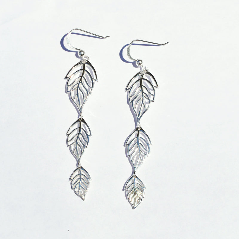 New Sterling 925 Ascending Leaf Dangle/Drop Nature/Organic Earrings