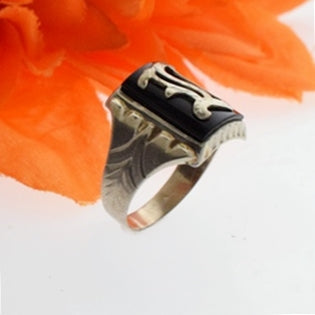 10k White Gold Vintage Black Onyx Initial E Ring Size 9