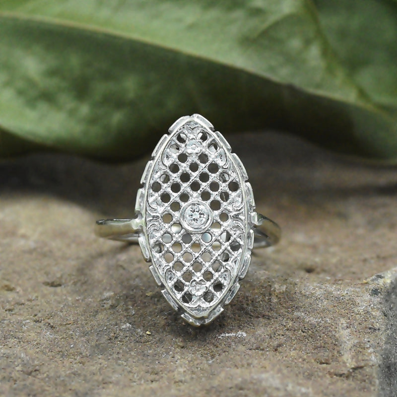 14k White Gold Antique Filigree Diamond Ring Size 5.75