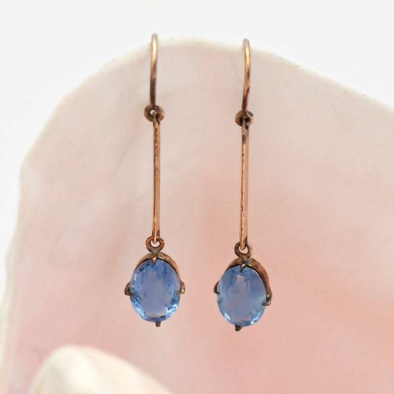 10k Yellow Gold Estate Blue Gemstone Dangle/Drop Earrings