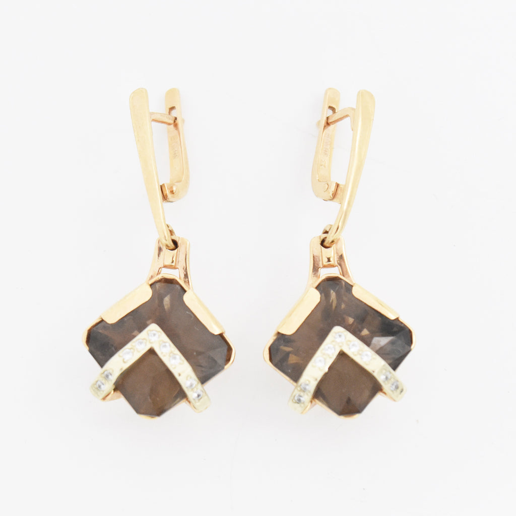 14k RG Smoky Quartz & White Gemstone Dangle/Drop Leverback Earrings