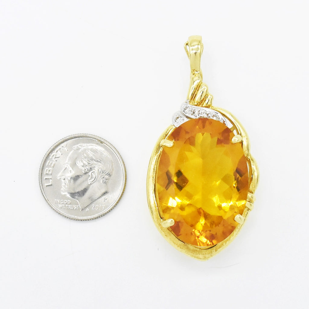 14k Yellow Gold Estate Large Citrine & Diamond Pendant