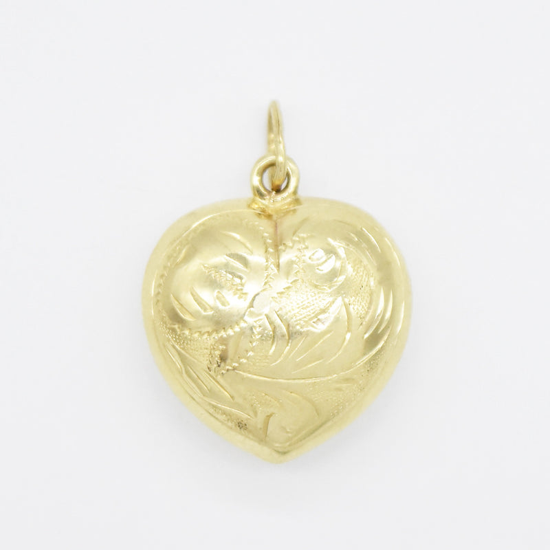 14k Yellow Gold Estate Puffy Heart Pendant/Charm