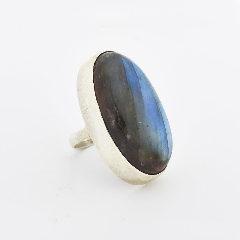 Sterling Silver 925 Large Labradorite Moonstone Oval Ring Size 7