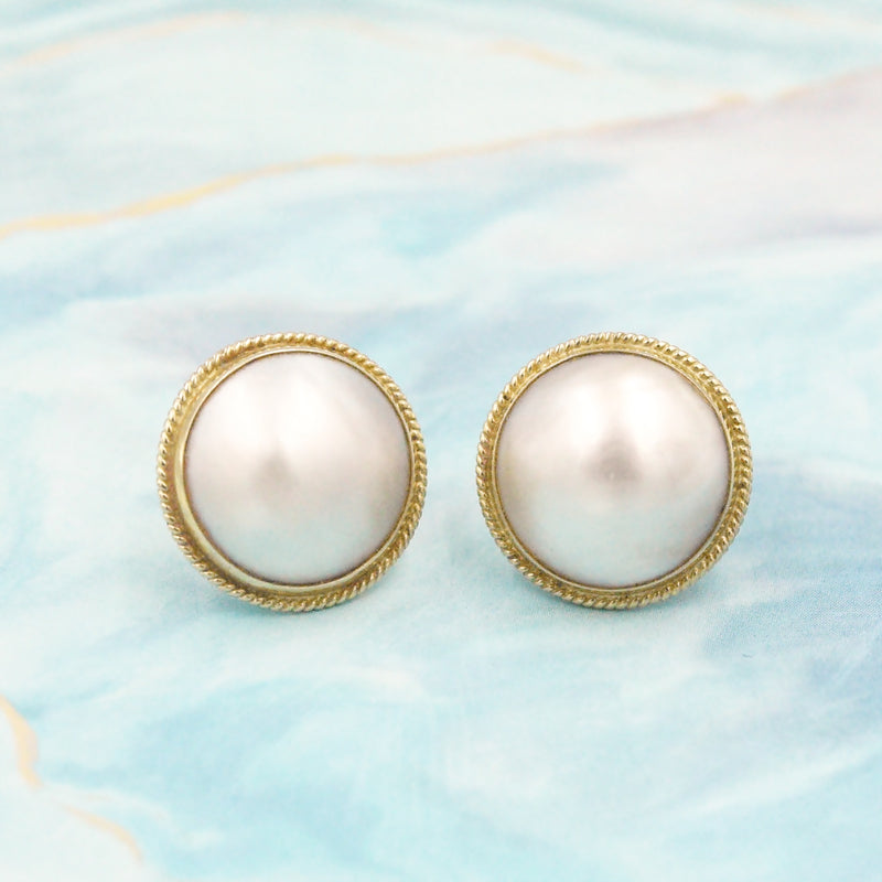 14k Yellow Gold Estate Mabel Pearl Post Earrings