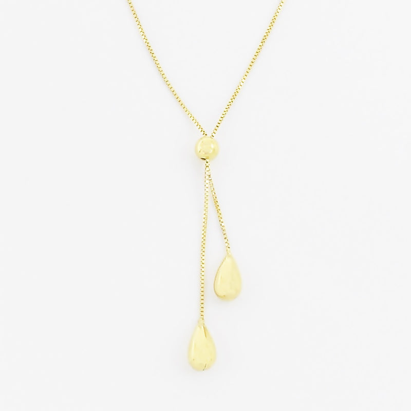 "14k Yellow Gold Estate 17"" Box Link Drop/Dangle Necklace"