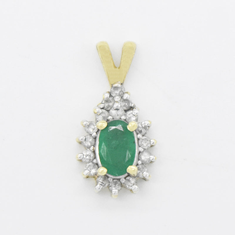 14k Yellow Gold Estate Emerald & Diamond Pendant
