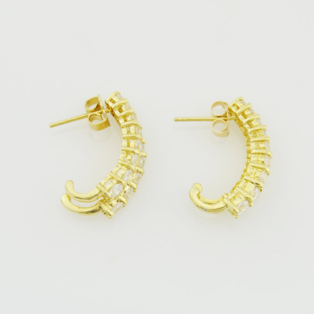14k Yellow Gold Estate CZ Half Hoop Earrings